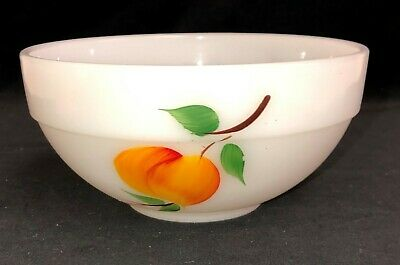 "Fire King GAY FAD FRUITS * COLONIAL RIM *6"" MIXING BOWL* PEACH* PEAR* GRAPES*"