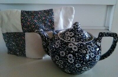 Blue Calico Teapot & Patchwork Tea Cozy Crownford China Staffordshire England