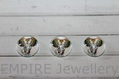 2 x Patterned Elephant 12x12mm Glass Cabochons Cameo Dome Africa India Ganesh