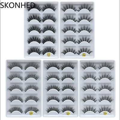 5 Pairs 100% Real Mink 3D Volume Thick Daily False Eyelashes Strip Lashes-