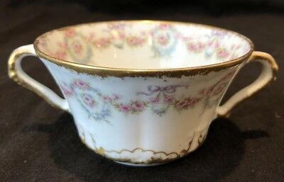 Theodore Haviland Limoges Schleiger 330 Bouillon Bowl Double Handle Cup Bow Gold