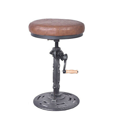 INDUSTRIAL BAR STOOL Swivel Antique Kitchen Counter Chair Pu ...