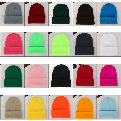 US stock Unisex Solid Wool Knit Hat Autumn Winter Warm Couple Beanie Hedging  17