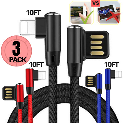 iPhone Fast Charger Cable USB 10Ft Lightning Cable Heavy Duty Cord 3Pack 6S 7 8