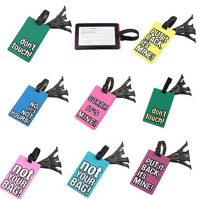 Suitcase Luggage Tag Name ID Address Holders Silicone Identifier Labels Travel