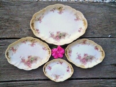 Antique Royal Doulton Graduated Platters X4 Pink Clematis? C1914-15 Blush Ivory