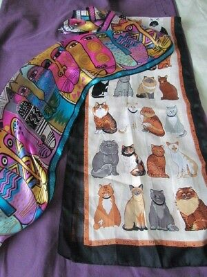 Silk Scarf Cats lot Polyester ,oblong Vintage