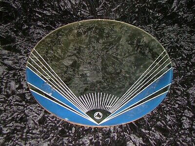 1930's Antique Art Deco Blue & White Sunburst Wall Mirror 17 3/4""