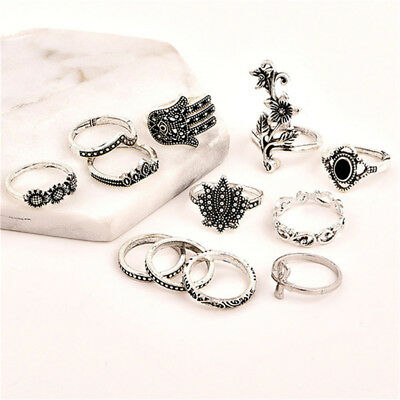 12pcs/set Ring Sets for Women Retro Flower Carving Punk Bohemian Knuckle Ring YI