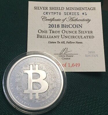 1 oz 2018 Bitcoin BU - Crypto Series #1 Silver Shield 999 Bitcoin Blockchain AG