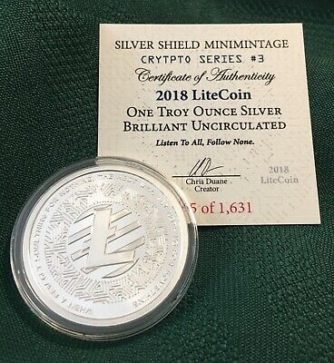 1 oz 2018 Litecoin BU- Crypto Series #3 Silver Shield 999 Bitcoin Blockchain AG