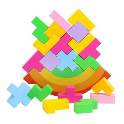 Baby Wooden Puzzle Rainbow Balance Tetris Game Educational Intellectual Toys