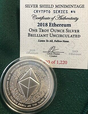 1 oz 2018 Ethereum BU- Crypto series #4 Silver Shield 999 Bitcoin Blockchain AG