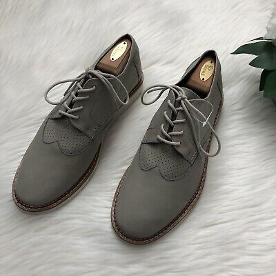 aca311ee827 TOMS Mens Oxford Derby Shoes Sz 10 Gray Brogue Wingtip Lace Up Suede Dress  Shoes