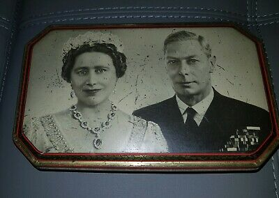 Antique Vintage Royal Visit Tin 1949 Queen Elizabeth & King George V1