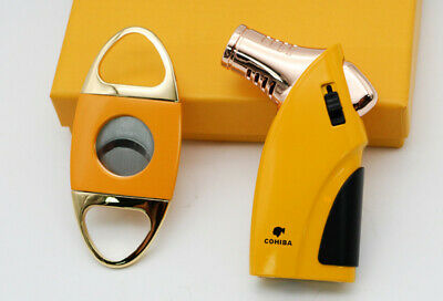COHIBA New Style Metal Cigar Lighter Cutter 3 Flame Windproof Lighters Set