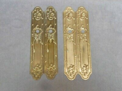 4 FRENCH Vintage Solid Brass CHATEAU door PUSH FINGER Plates