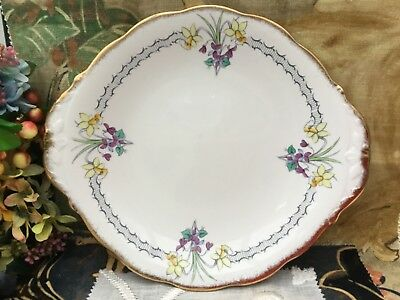 QUEEN ANNE 1950s CAKE SERVING PLATE - NARCISSUS & VIOLETS GILDED FINE BONE CHINA