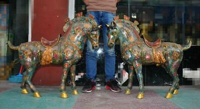 """34"""" A pair China old bronze Cloisonne Gilt War Horse Steed Horses Animal Statue"""