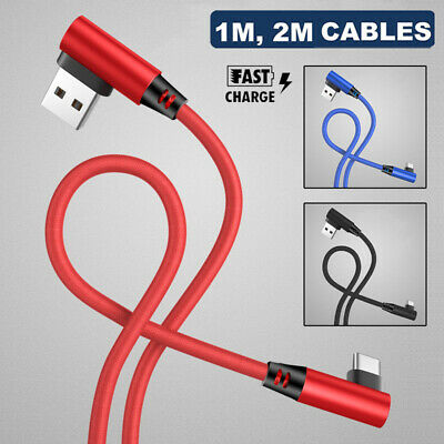 Braided 90 Degree Type C Fast Charging Data Sync USB C Charger Cable For Samsung