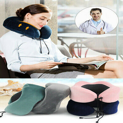 New U Shaped Travel Memory Foam Neck Pillow Support Head Rest Airplane Cushion