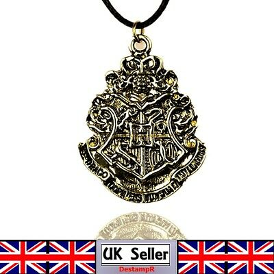 Harry Potter Hogwarts Main School Badge Bronze Pendant Necklace UK Seller