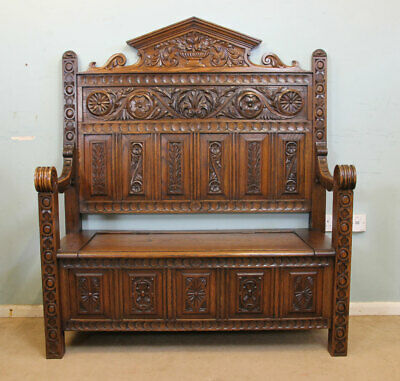 Antique Late Victorian Carved Oak Settle / Monks Bench / Hall Seat