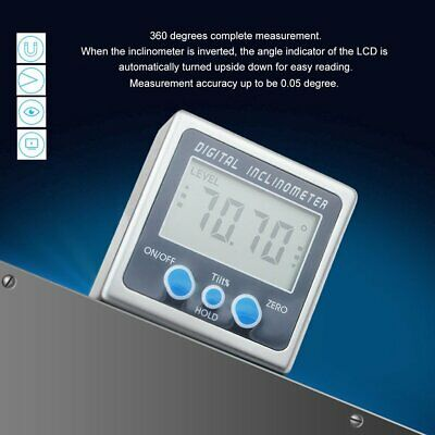 Digital Angle Cube Gage Electronic Gauge Sea Level Protractor Magnetic Base UR
