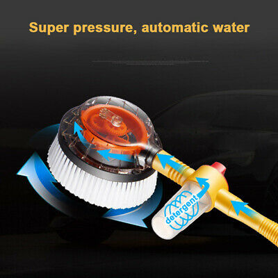 1x Rotating Car Wash Brush with Soap Reservoir Spray Water Window Cleaner Tool