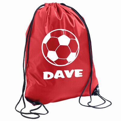 Personalised Football Bag Drawstring Backpack Gymsac PE School Name of choice