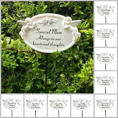 White & Silver Twin Cherub Memorial Stick Remembrance Plaque Tribute Spike Stake