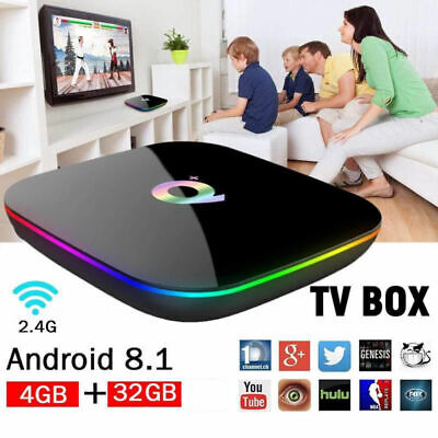 Q Plus Quad Core 4+32GB Android 8.1 TV Box 4K HD Smart Media Player WI-FI HDMI