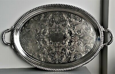 Large Vintage Silver Plated Very Ornate Serving Tray With Handles