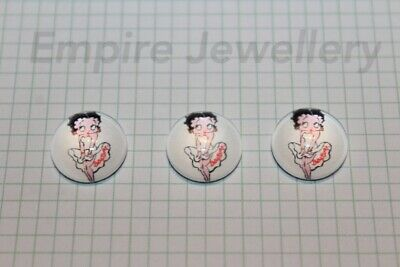 2 x Betty Boop 12x12mm Glass Cabochons Cameo Dome 50s Pin Up Retro Vintage
