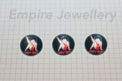 2 x Betty Boop #1 12x12mm Glass Cabochons Cameo Dome 50s Pin Up Retro Vintage