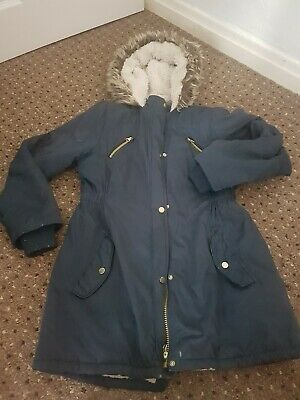 11 To 12 Year Old Girls Navy Hooded Parka Coat