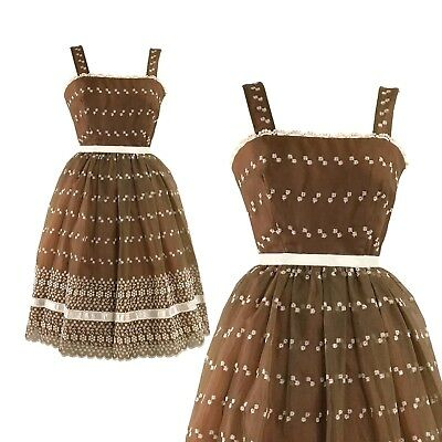 Late 1950s-Early 1960s Chocolate Chiffon - 50s-60s Embroidered Designer Dress