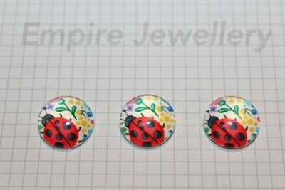 2 x Red Ladybug #1 12x12mm Glass Cabochons Cameo Dome Ladybird Insect