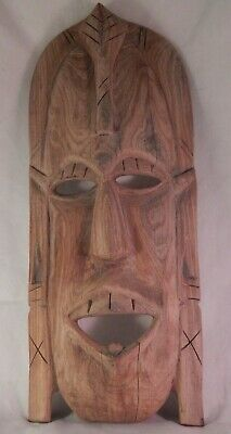 Vintage Indian Chief Face Wood Hand Carved Mask Over 16""
