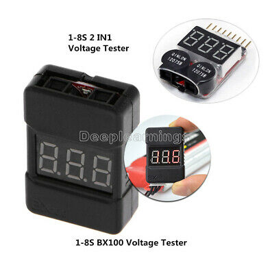 BX100 1-8S Lipo Li-ion Battery Voltage Tester Monitor Low-Voltage Buzzer Alarm D