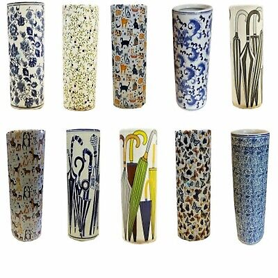 "Round Ceramic Umbrella Stands Walking Stick Stands 18"" High"