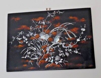 VINTAGE LAQUERED  WALL HANGING PANEL : INLAID MOTHER OF PEARL signed