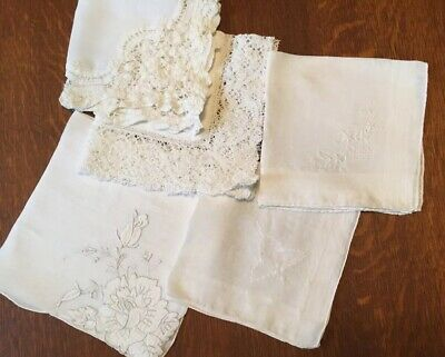 5 Beautiful Vintage White Lace & Embroidered Design Wedding Bride Handkerchiefs