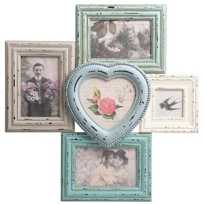 Delilah Distressed Hanging 5 Multi Picture Photo Frames Rustic Pastel Heart