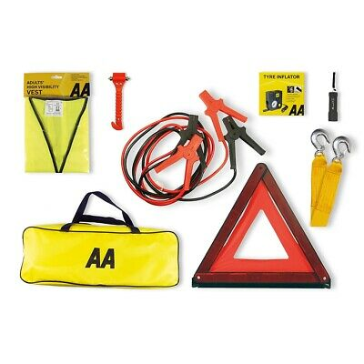 AA Breakdown And Safety Kit Plus Emergency Travel Car Hi Vis Booster Cables Bag