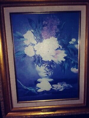 Edouard Manet Bunch of White Peonies Canvas Print Gold Gilt Wood Frame