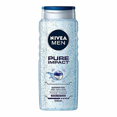 Nivea Bathcare Pure Impact Shower Gel For Men Hydration Skin Cleansing 500ml