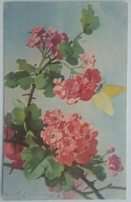 Artist Signed, Brimstone Butterfly on Hawthorn Blossom (May), by KLEIN, c 1925