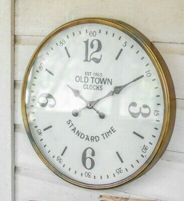 Vintage Style Old Town Station Clock Large Glass Front  Antique Brass Finish