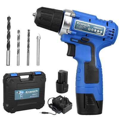 Cordless Drill Driver 12V Electric Screwdriver Set 2 Lithium-Ion Battery...